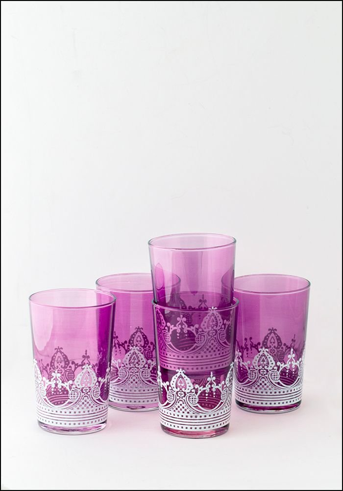 Khmissa Khmissa Violet White Relief Glass