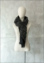 Mii Mii Collection Embroidered Dots Black Scarf