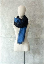 Mii Mii Collection Embroidered Sparkle Tracks Blue Scarf
