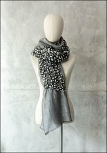 Mii Mii Collection Embroidered Sparkle Tracks Grey Scarf