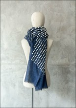 Mii Mii Collection Embroidered Dots Blue Scarf