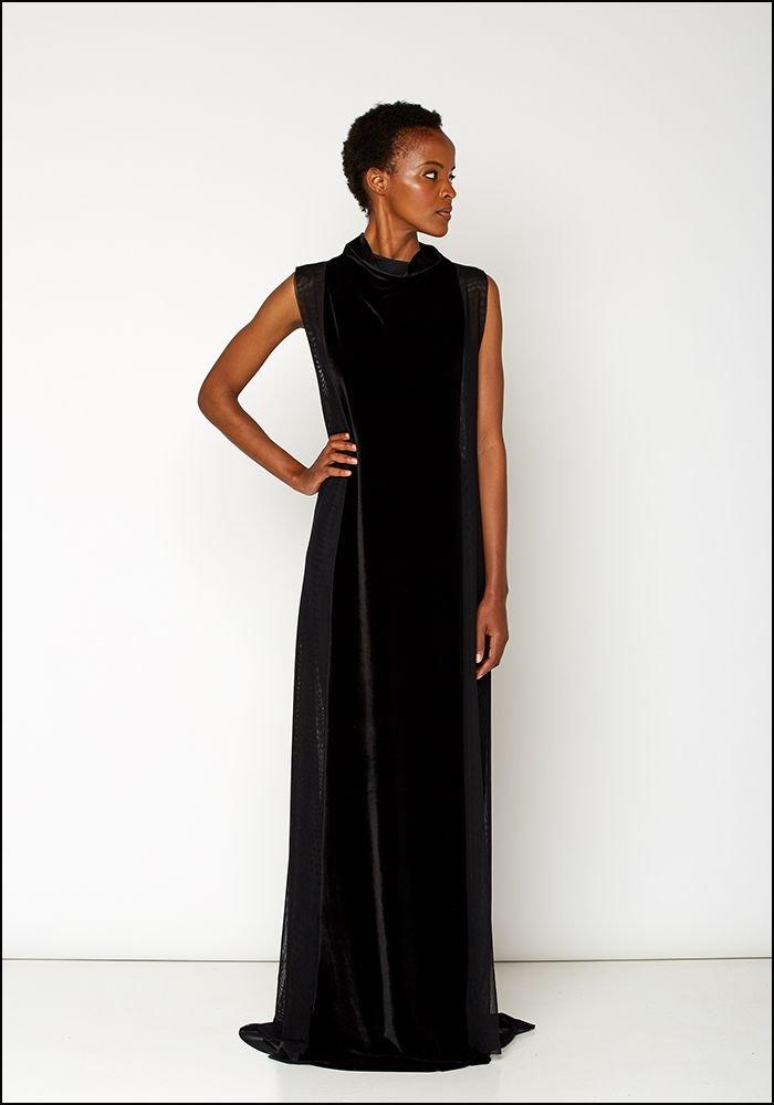 Ark NYC Velvet Mesh Maxi Dress