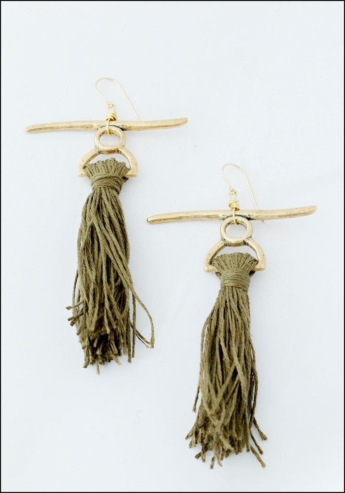 Catori Catori Life Linen and Bronze Long Tassel Earrings