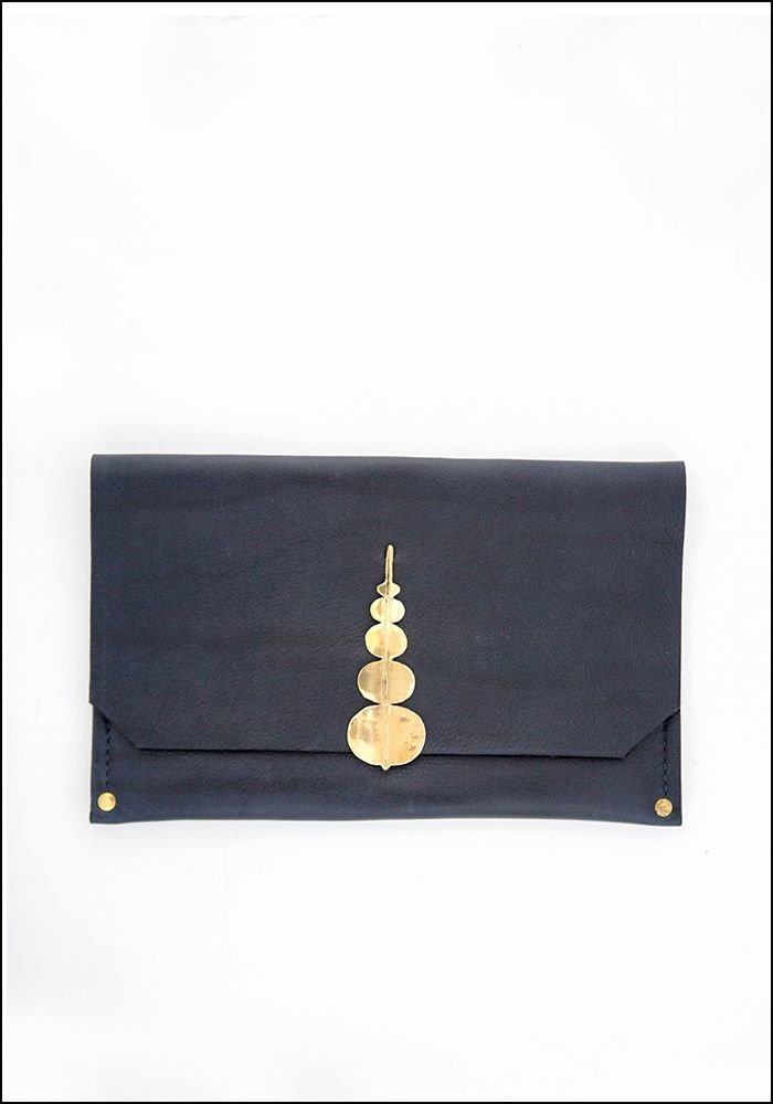 Samantha Grisdale Samantha Grisdale Orb Leaf Leather and Brass Clutch