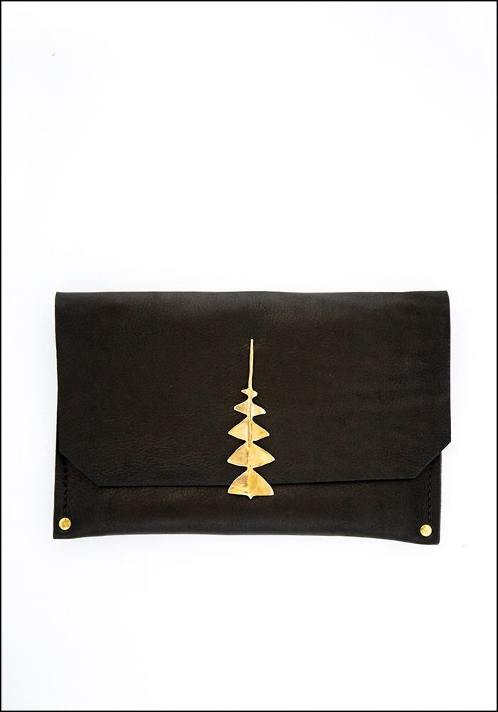Samantha Grisdale Samantha Grisdale Dream Leaf Leather and Brass Clutch
