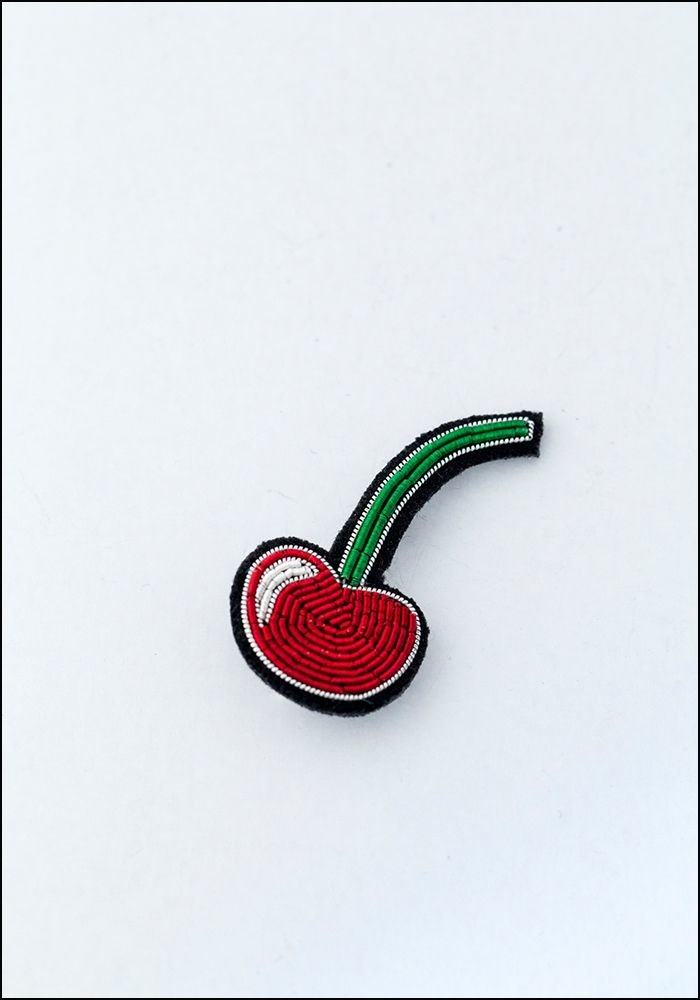 Macon and Lesquoy Small Cherry Embroidered Pin