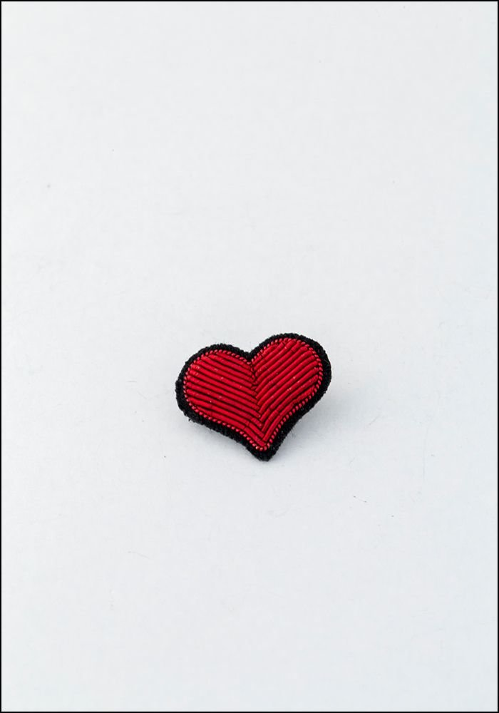 Macon and Lesquoy Small Red Heart Embroidered Pin