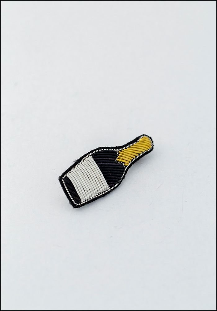 Macon and Lesquoy Champagne Bottle Embroidered Pin