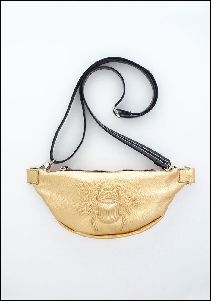 Embossed Leather Gold Scarab Belt Bag