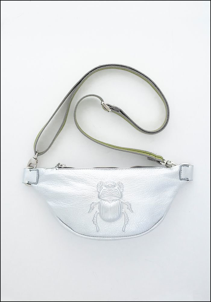 Embossed Leather Silver Scarab Belt Bag