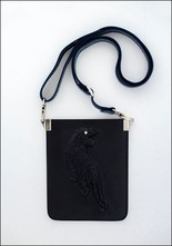Embossed Leather Tiger Crossbody Pouch