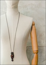 Jacki Holland Jacki Holland Sunstone Moss Agate and Sapphire Necklace