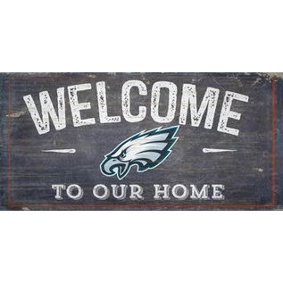 FAN CREATIONS PHILADELPHIA EAGLES WELCOME DISTRESSED 6x12