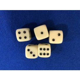 White Bagged Dice 5pc  Set