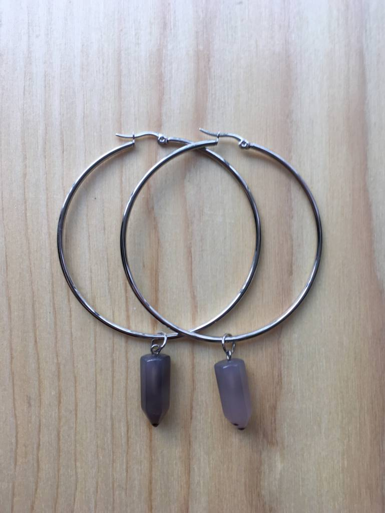 Eleventh House Jewellery Silver Hoop Gem Earrings