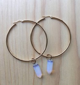 Eleventh House Jewellery Gold Hoop Gem Earrings