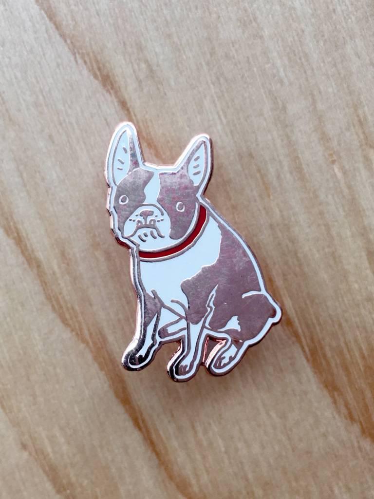 Kristina Micotti Brown Boston Terrier Pin