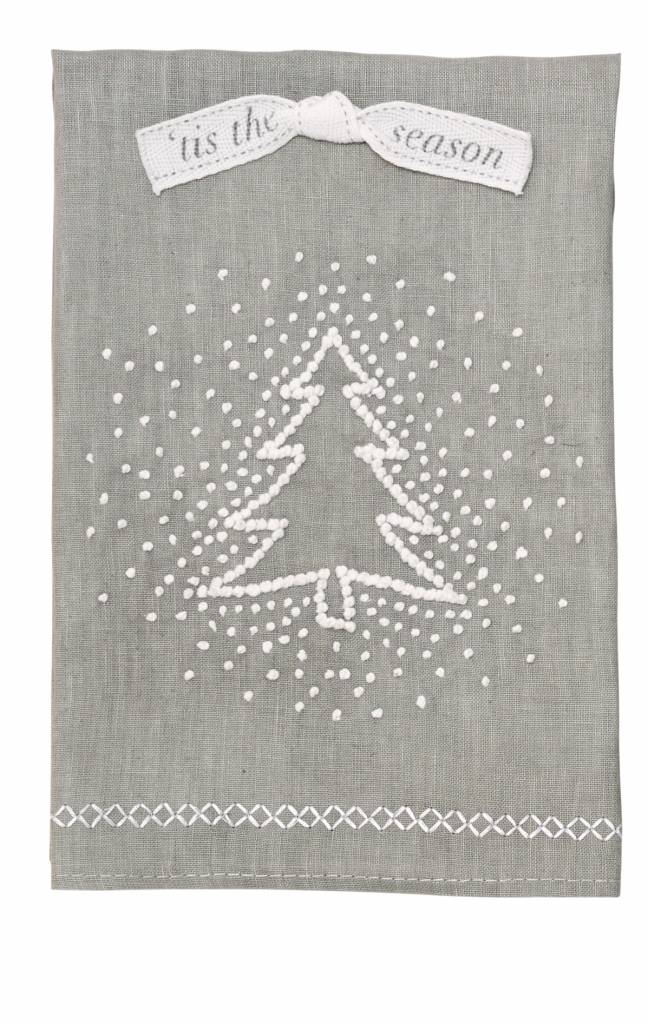 Gray Winter Wonderland French Knot Towel