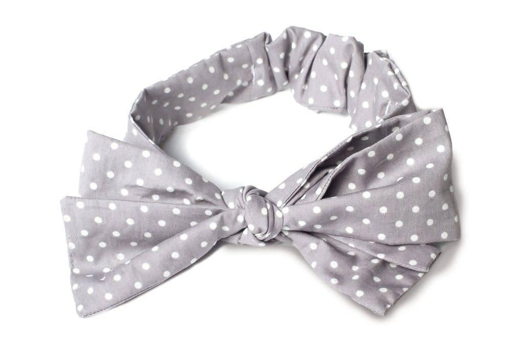 Baby Gray Dots Big Bow Headband