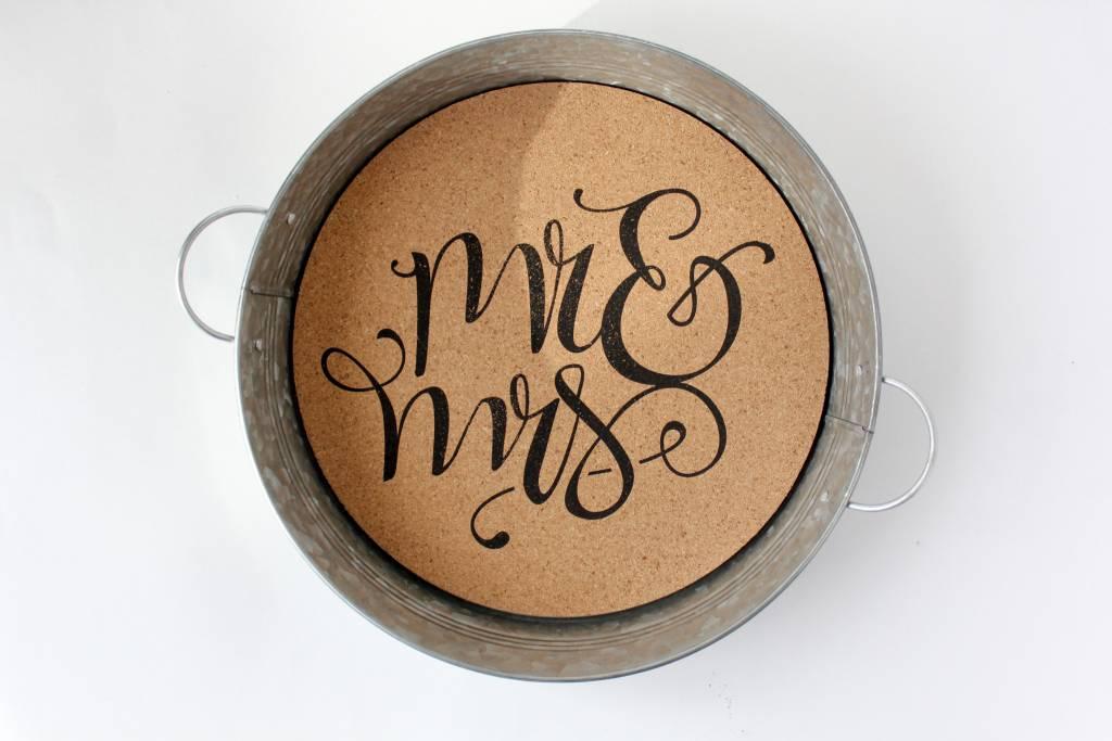 Mr. & Mrs. Metal Serving Tray