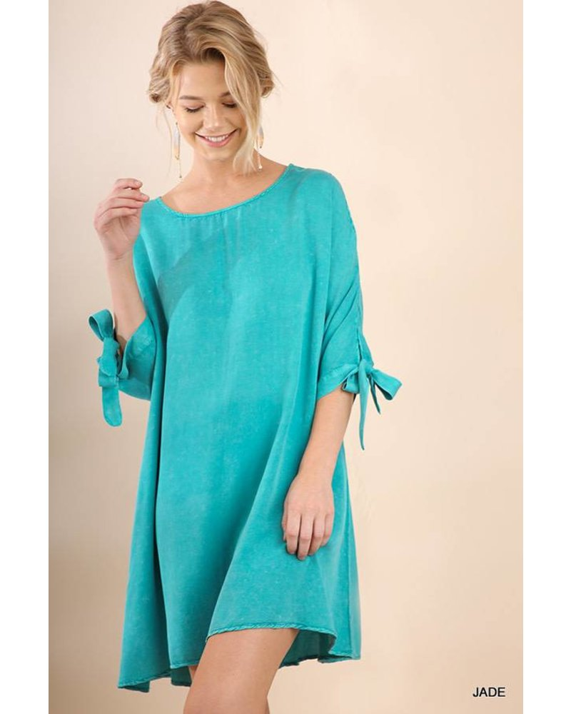 Bria Washed Tie Sleeve Dress