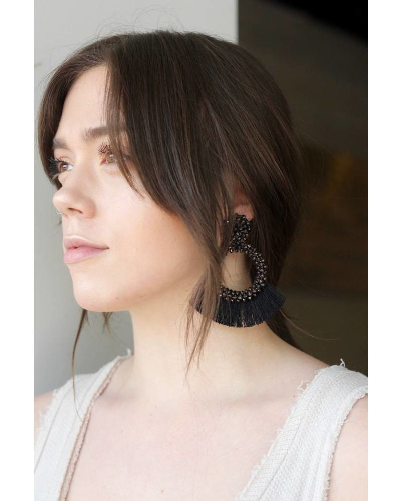 Seed Bead Statement Earring Black