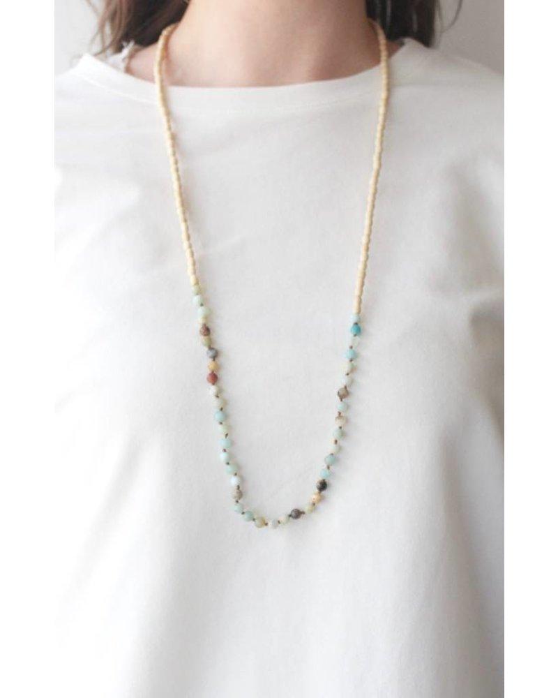 Amazonite & Wood Necklace