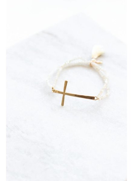 Beaded Cross Bracelet- White