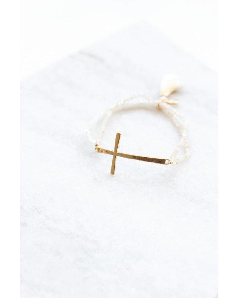 Beaded Cross Bracelet- White
