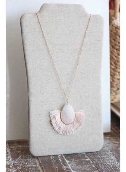 Margot Stone Tassel Necklace- Pink