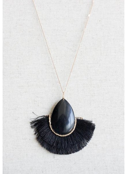 Margot Stone Tassel Necklace- Black