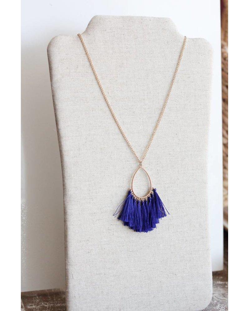 Fanfare Tassel Necklace- Sapphire