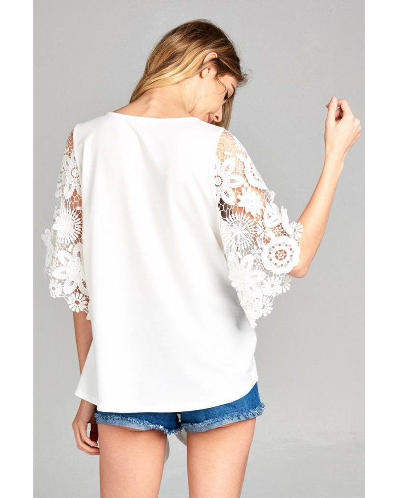 Sunflower Lace Sleeve Blouse
