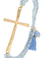 Beaded Cross Bracelet- Blue