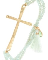 Beaded Cross Bracelet- Mint