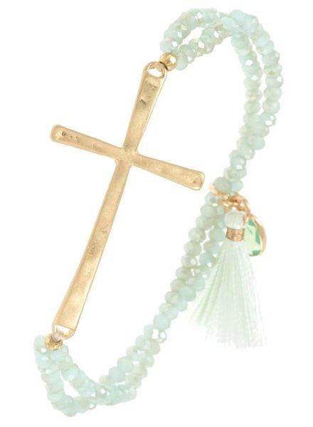 Beaded Cross Bracelet- Mint
