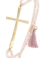 Beaded Cross Bracelet- Blush