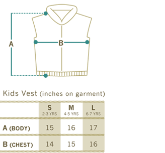 Sizing Chart for Granted Sweater Vests