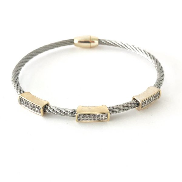 Stainless Steel Cable Wire Bracelet with CZ Pave Rectangles - CRC ...
