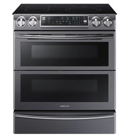 Samsung Samsung Slide-In Convection FlexDuo Electric Range Black Stainless