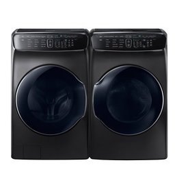 Samsung Samsung 6.0 FlexWash Steam Front Load Washer and FlexDry Steam Gas Dryer Black Stainless