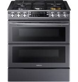 Samsung Samsung Slide-In Convection FlexDuo Gas Range Black Stainless
