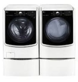 LG LG 4.5 Steam Front Load Washer & Electric Dryer with Washer Pedestal and Pedestal White