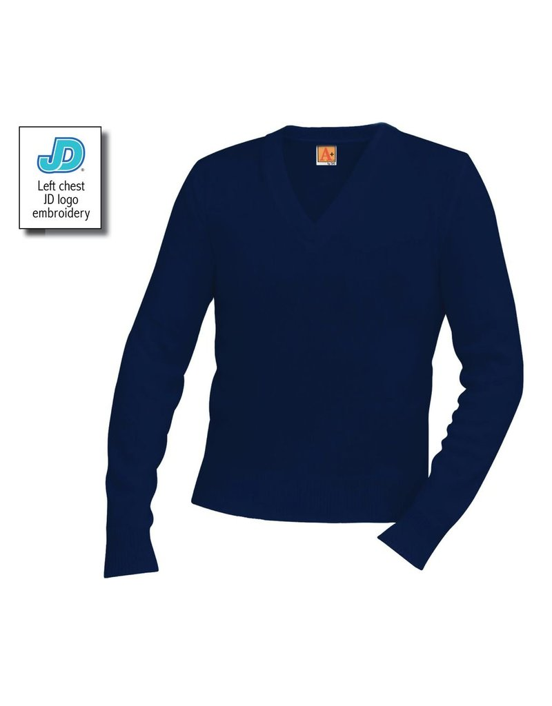 UNIFORM JD V-Neck Long Sleeve Pullover Sweater, Unisex, Navy