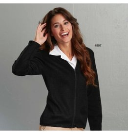 Women's Zip-front V-neck cardigan sweater