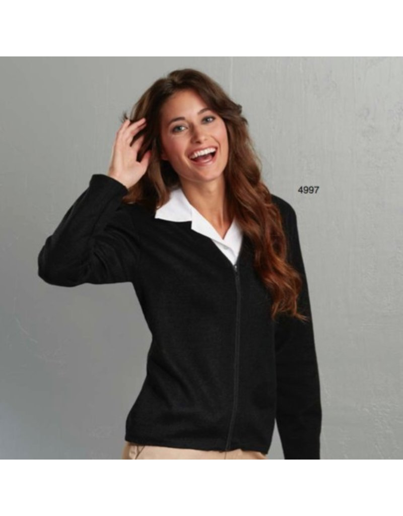 Women's Zip-front V-neck cardigan sweater - Saint Paul's Place