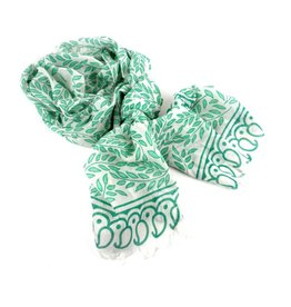 Leaves & Paisley Cotton Scarf