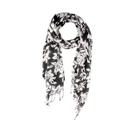 Black and White floral scarf from India.
