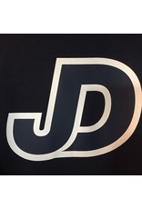 JD logo, white outline, navy fill