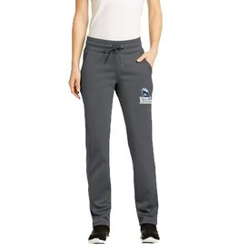 Summit Embroidered Women's Grey warm up pants<br /> Wide elastic waistband with covered exterior drawcord<br /> Side pockets<br /> Straight legs<br /> Open hem cuffs<br /> Due to the nature of 100% polyester performance fabrics, special care must be taken throughout the printing proce